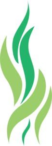 green flame heating and plumbing flame icon